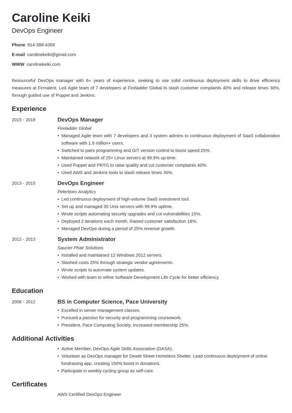 entry level devops engineer resume for fresher  best