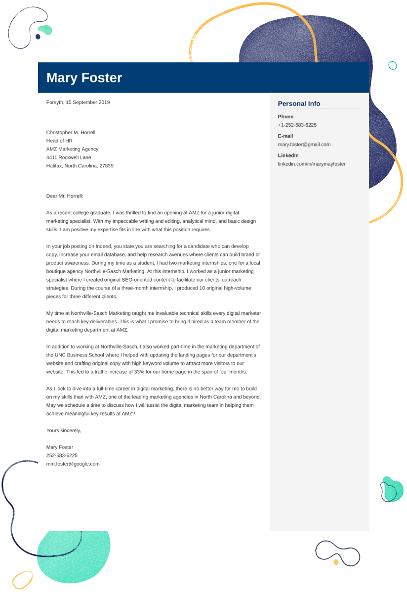 Digital Marketing Cover Letter Examples Ready To Use