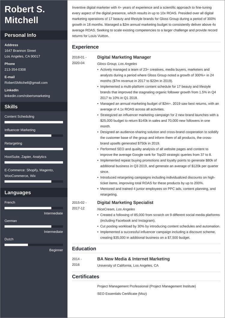 digital marketing resume templates