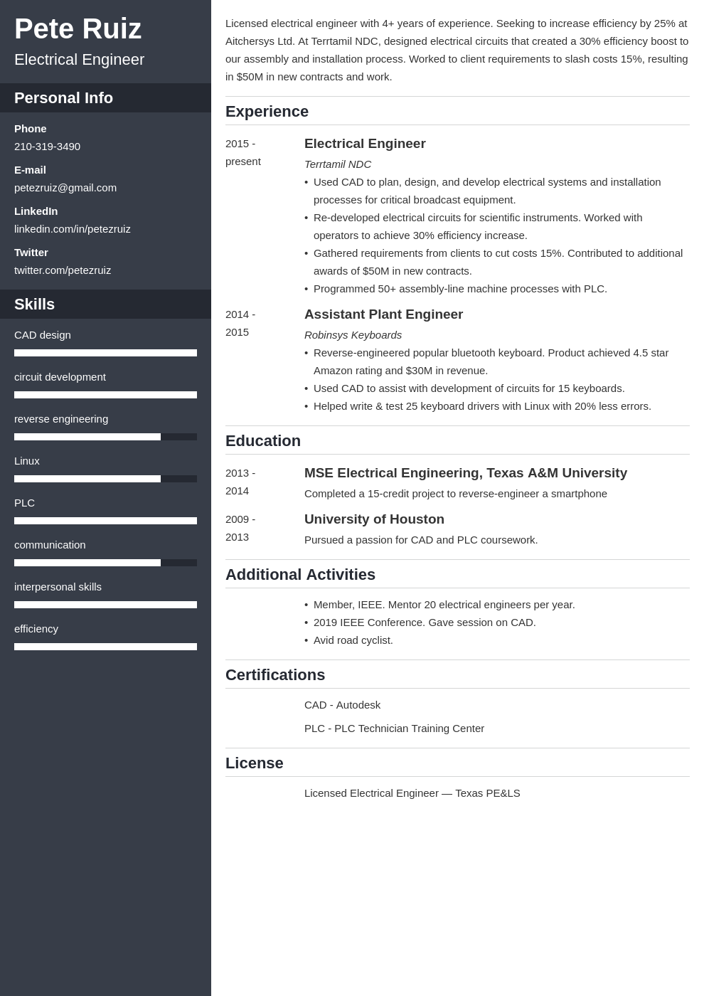 electrical engineering template cascade uk