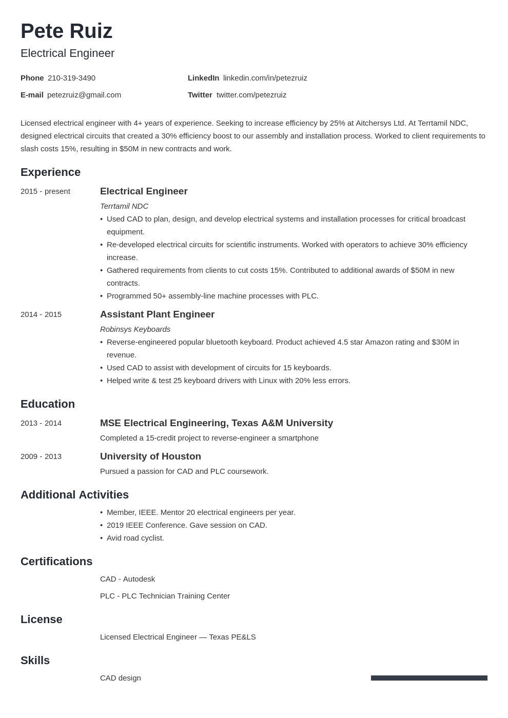 electrical engineering template minimo