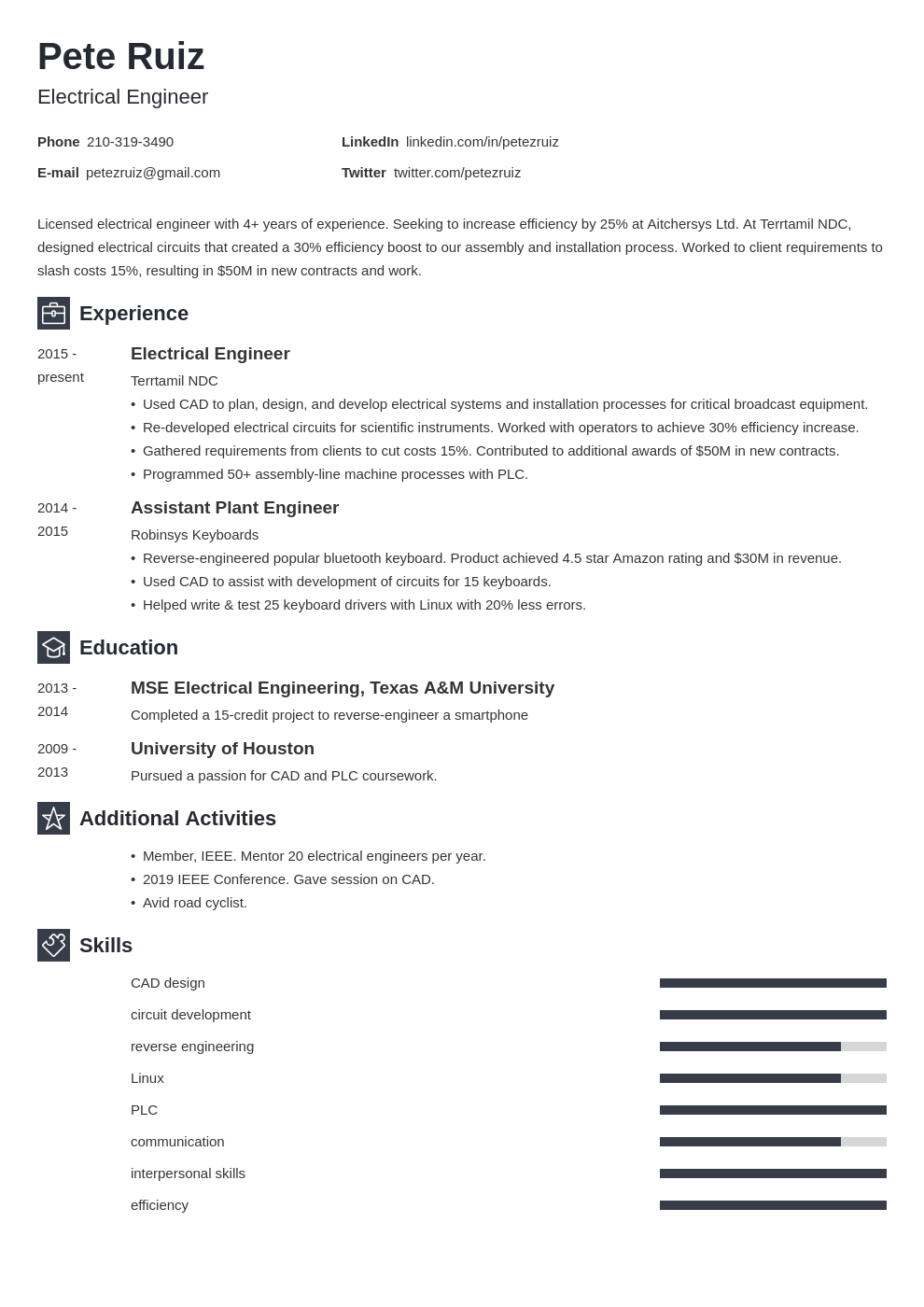 electrical engineering template newcast