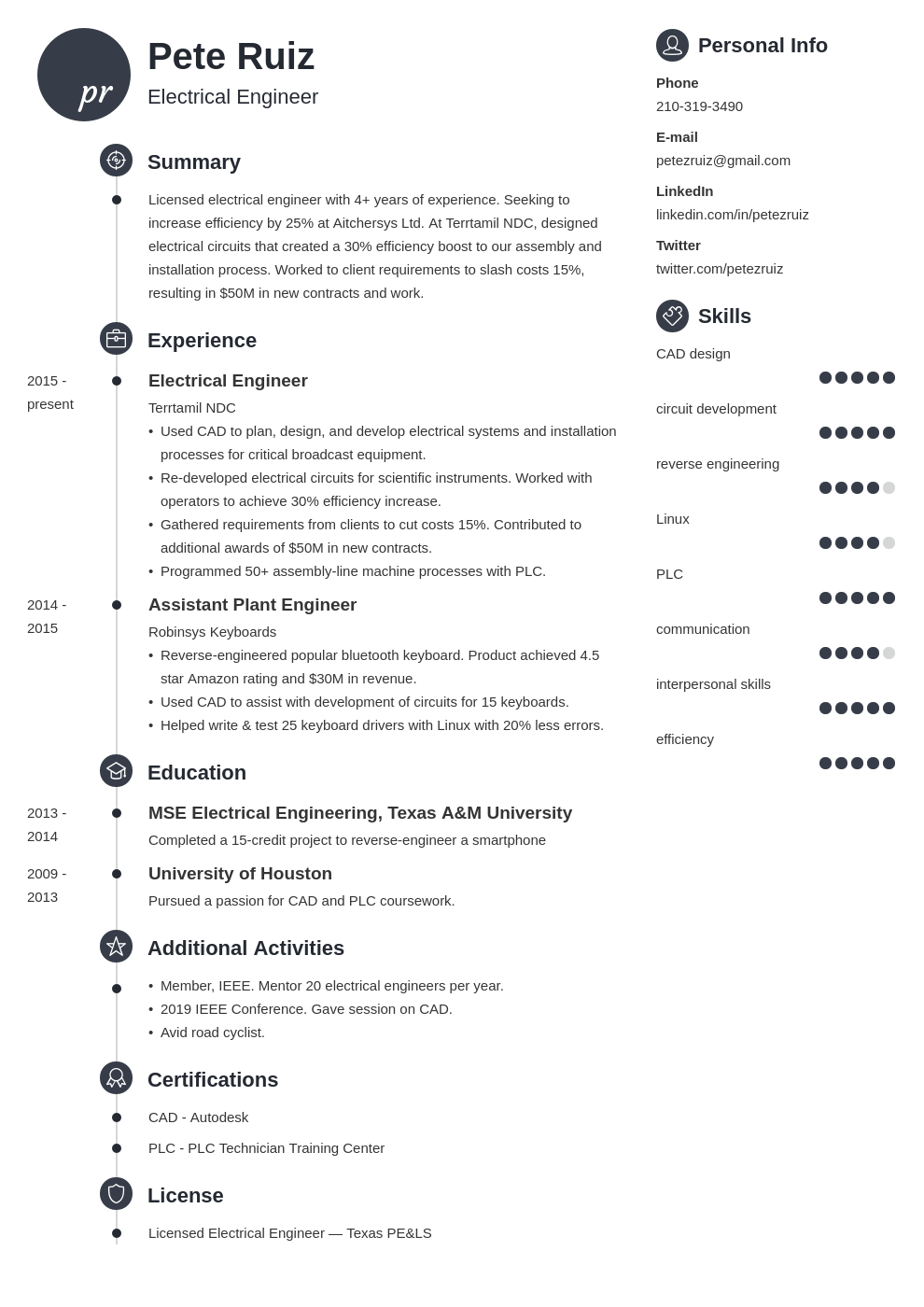 electrical engineering template primo uk