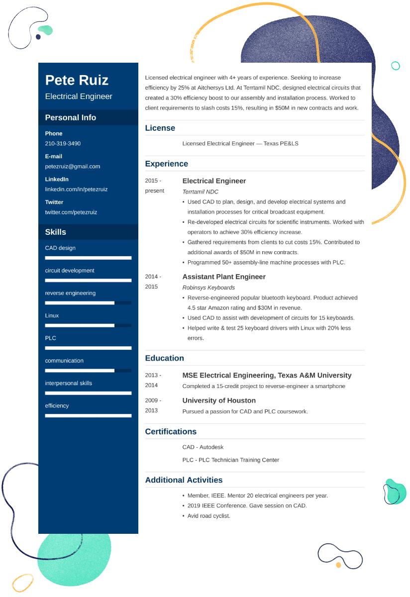 electrical engineer CV example