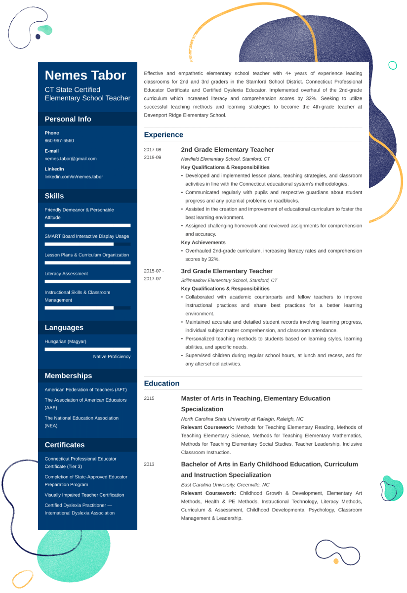 elementary teacher resume u2014examples and 25  writing tips