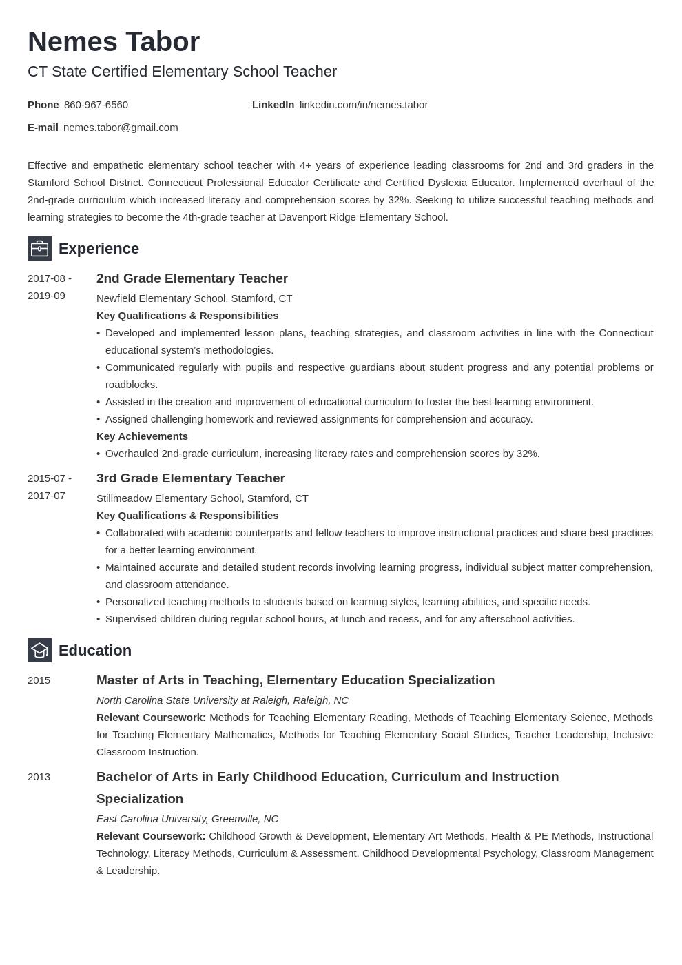 elementary teacher template newcast uk