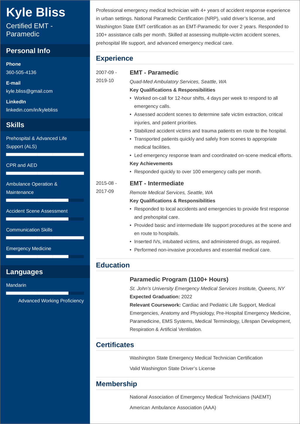 paramedic    emt resume u2014examples and 25  writing tips