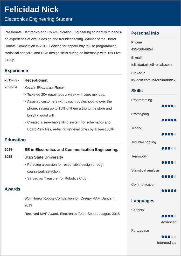 engineering internship resume templates