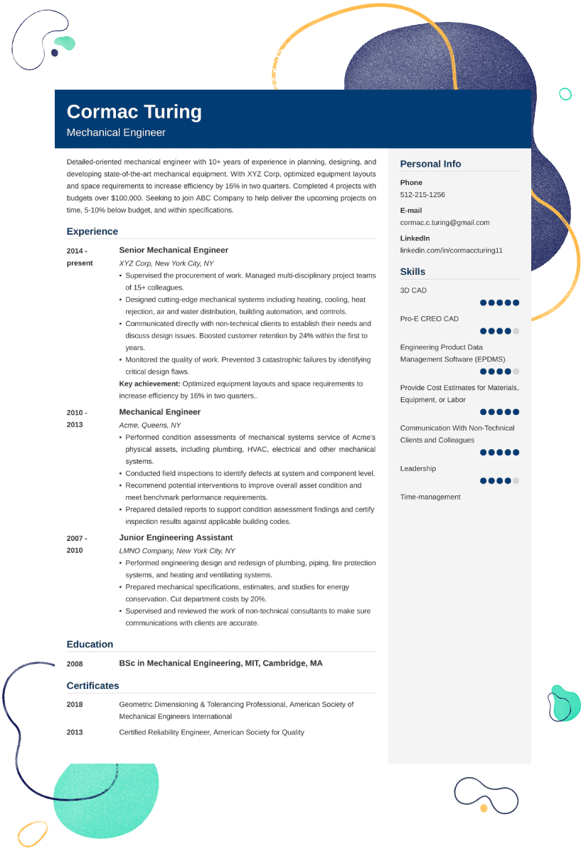 Engineering Resume Sample—Examples and 25+ Writing Tips