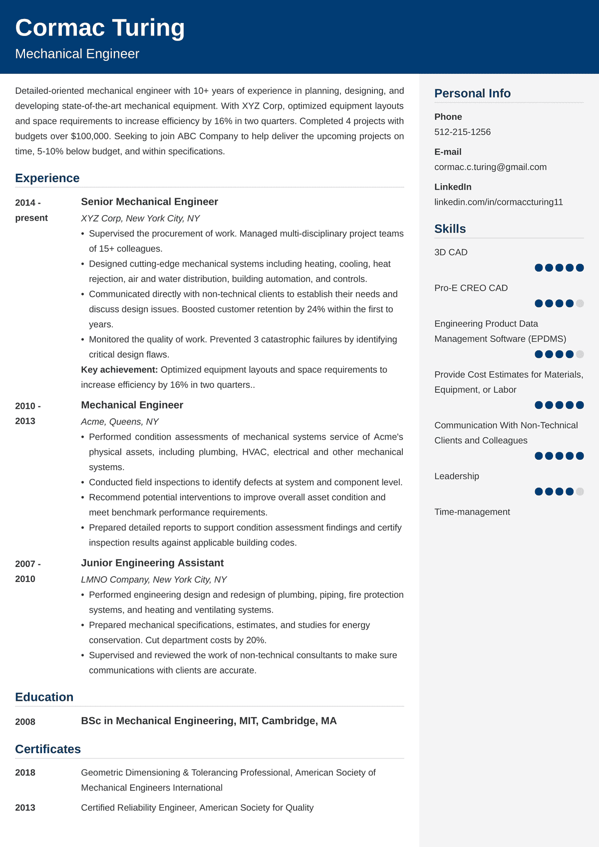 Engineering Resume Sample Examples And 25 Writing Tips