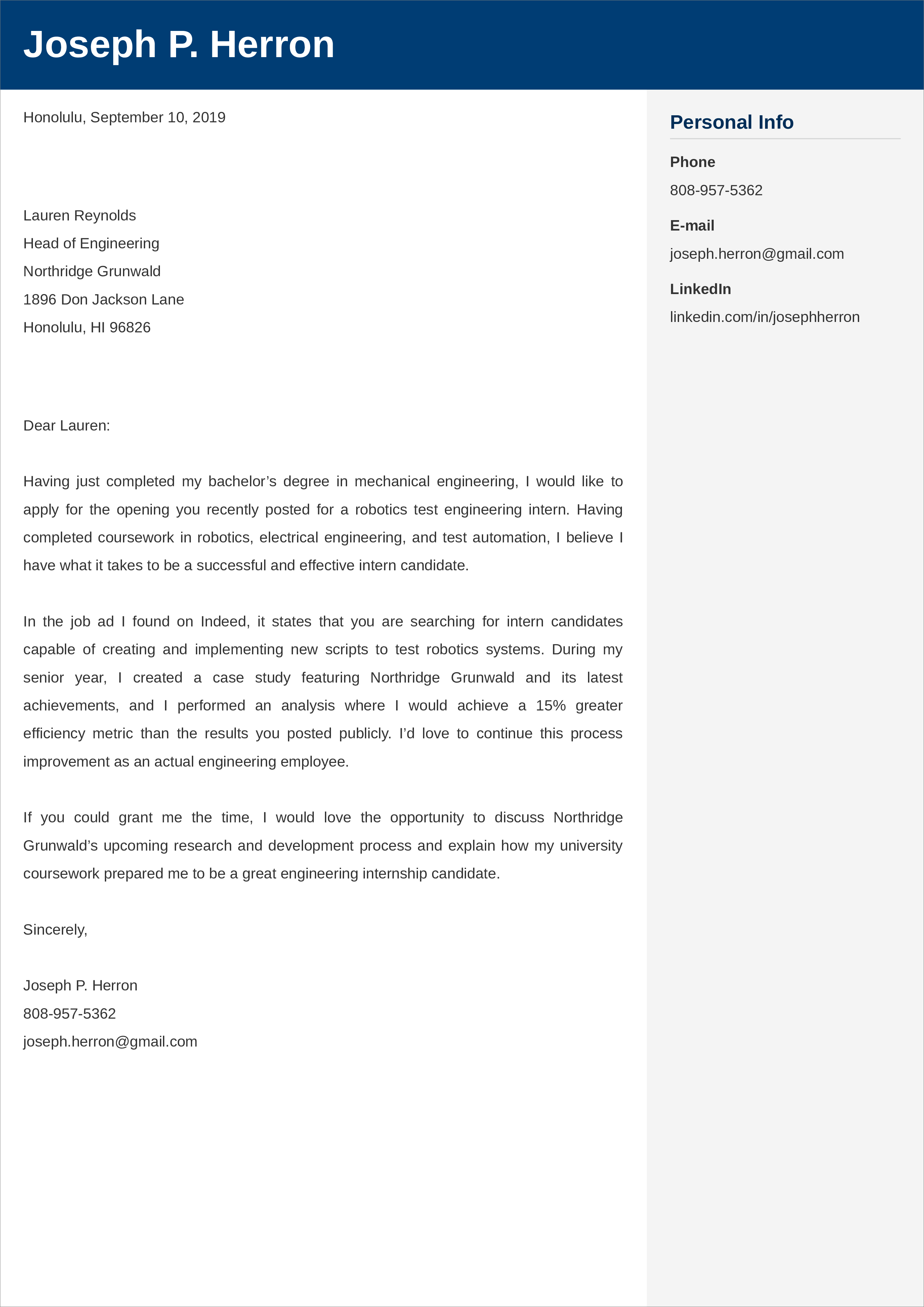 entry-level engineering cover letter example