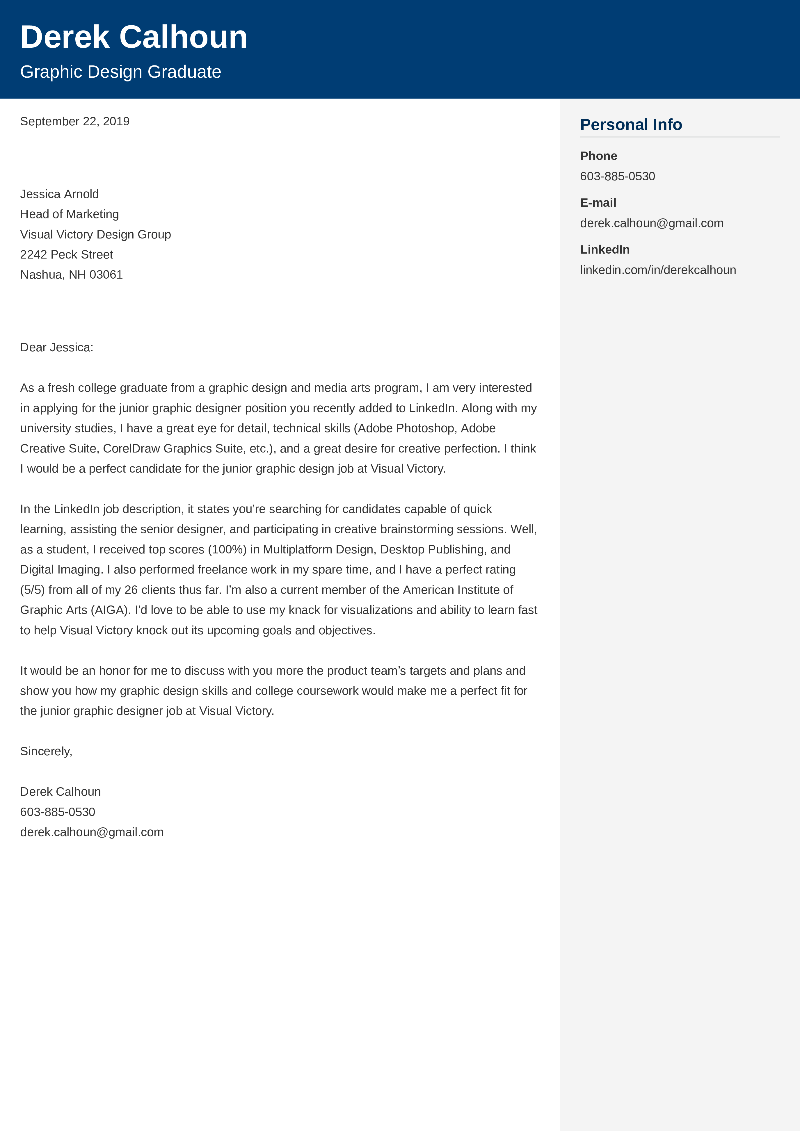 entry-level graphic design cover letter example