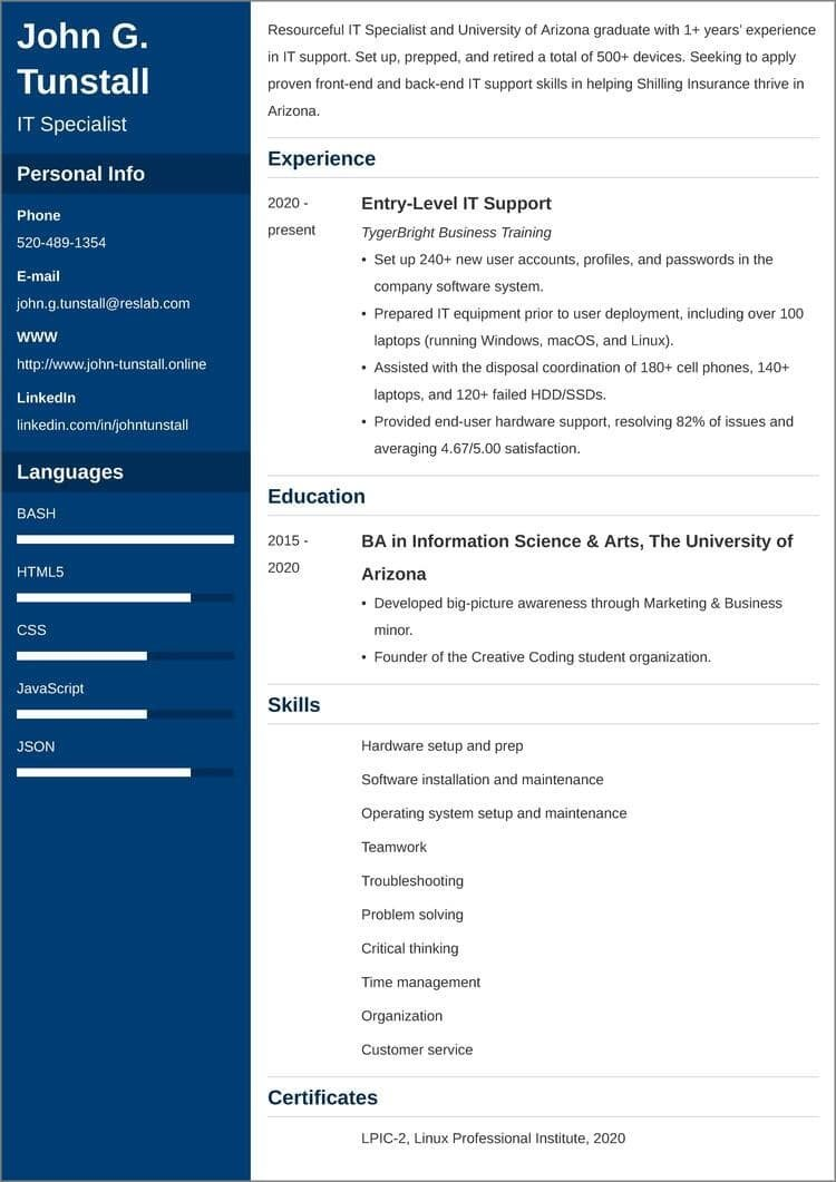 entry-level IT CV templates