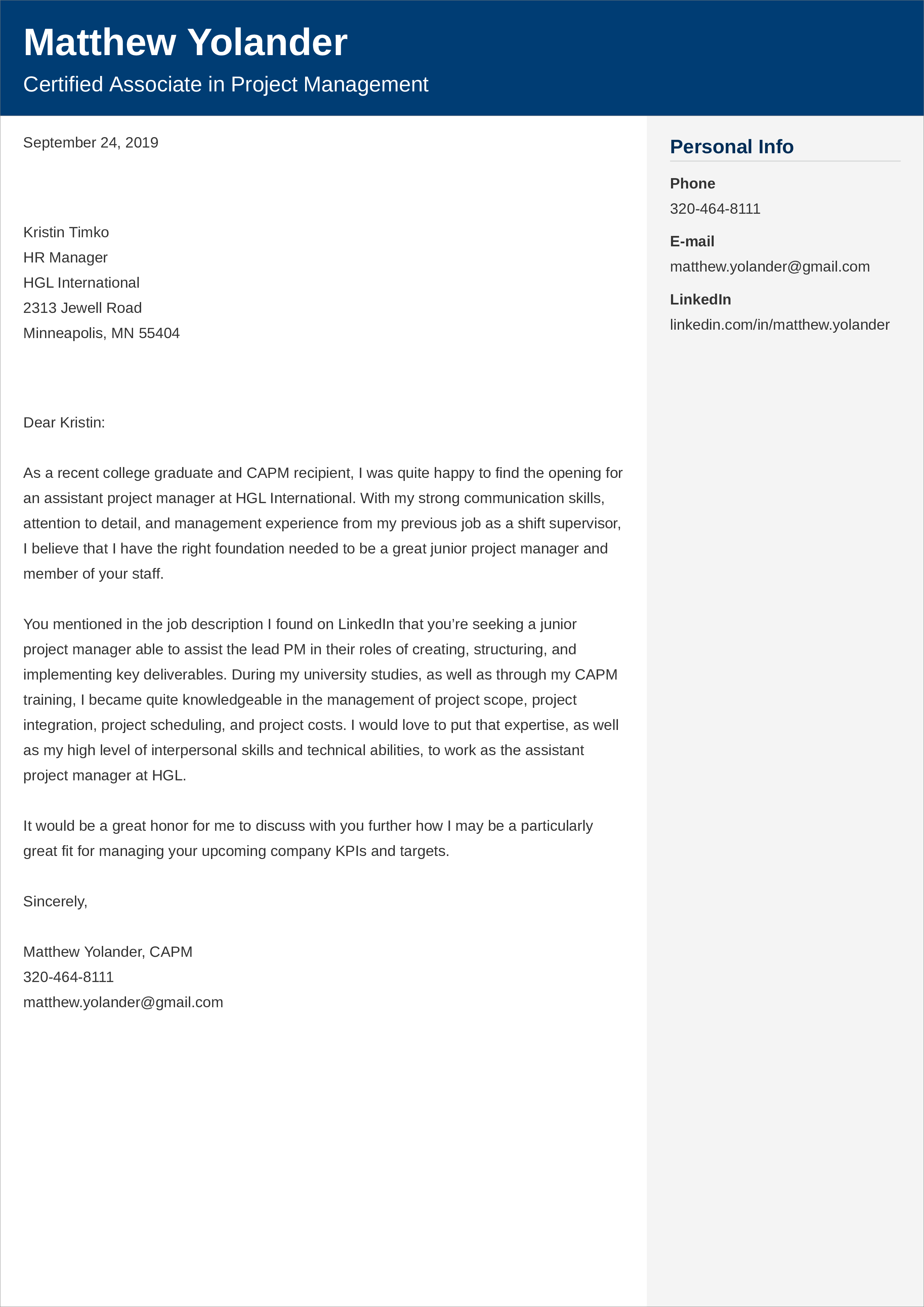Project Manager Cover Letter Examples For 2021