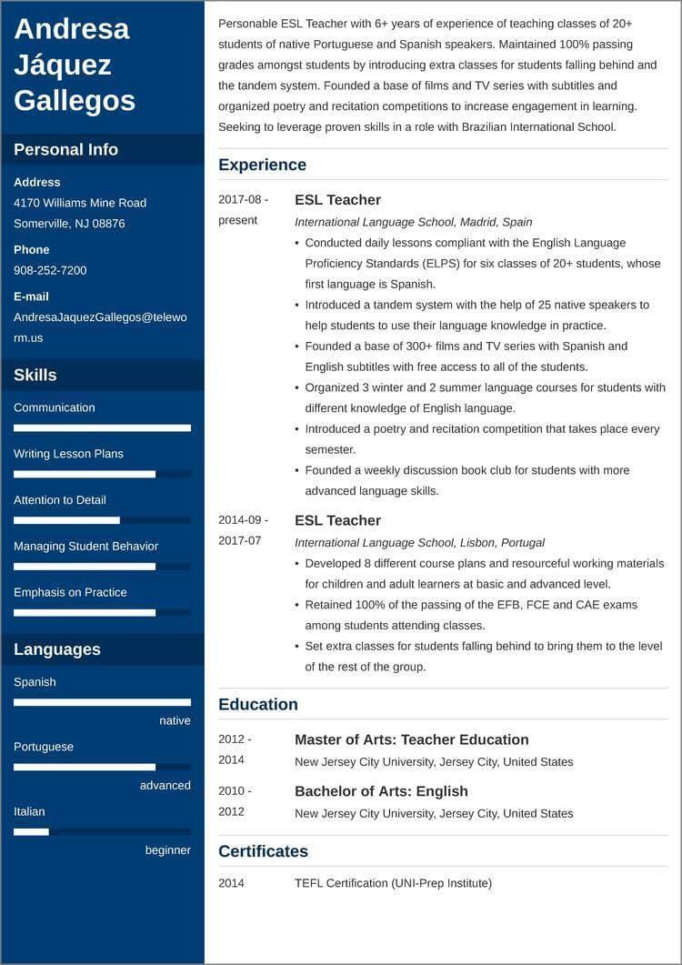 esl teacher CV templates