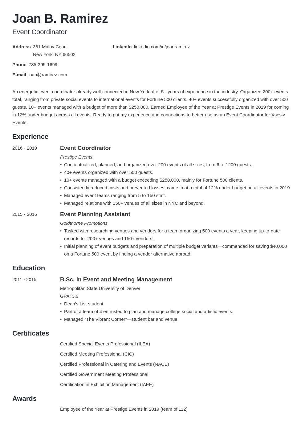 event coordinator template minimo uk