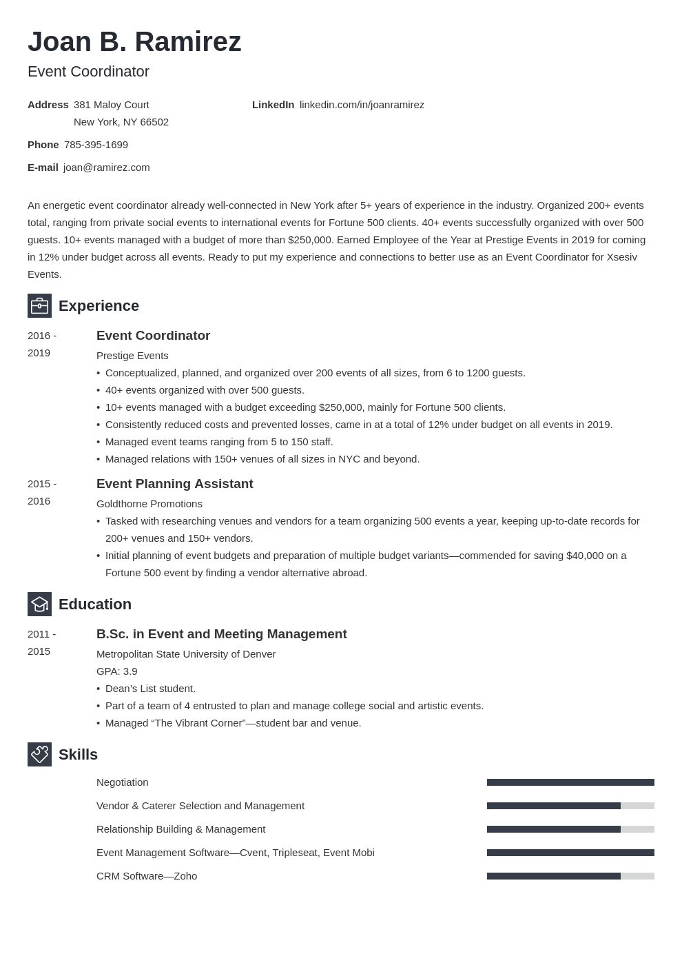 event coordinator template newcast