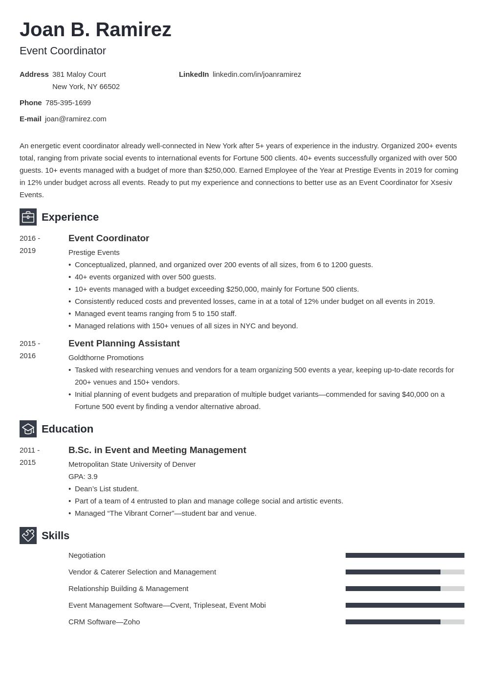 event coordinator template newcast uk