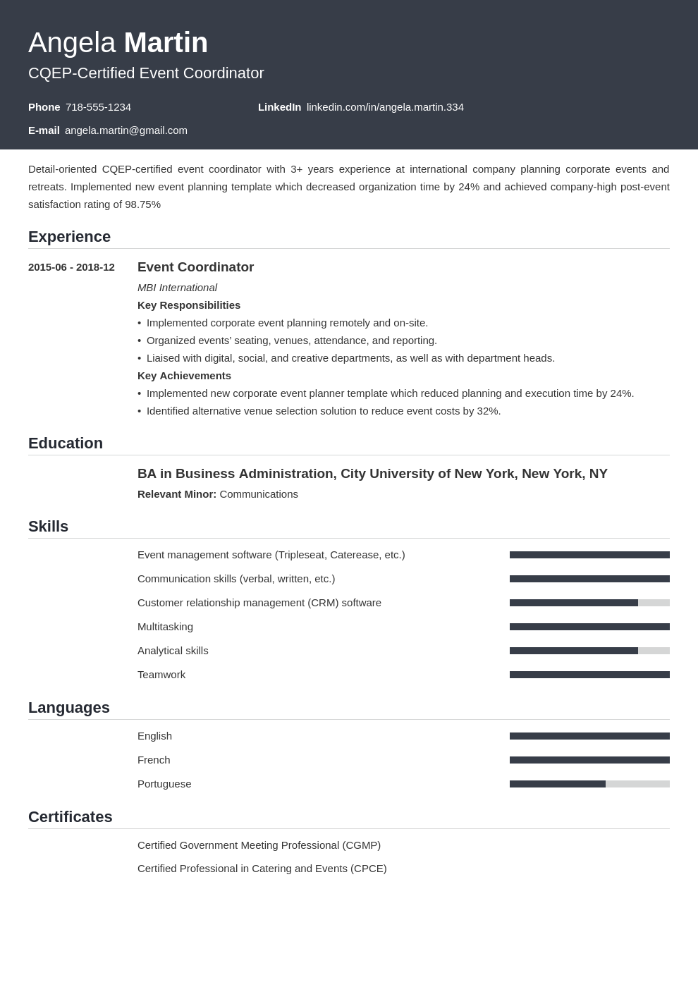 event planner template influx