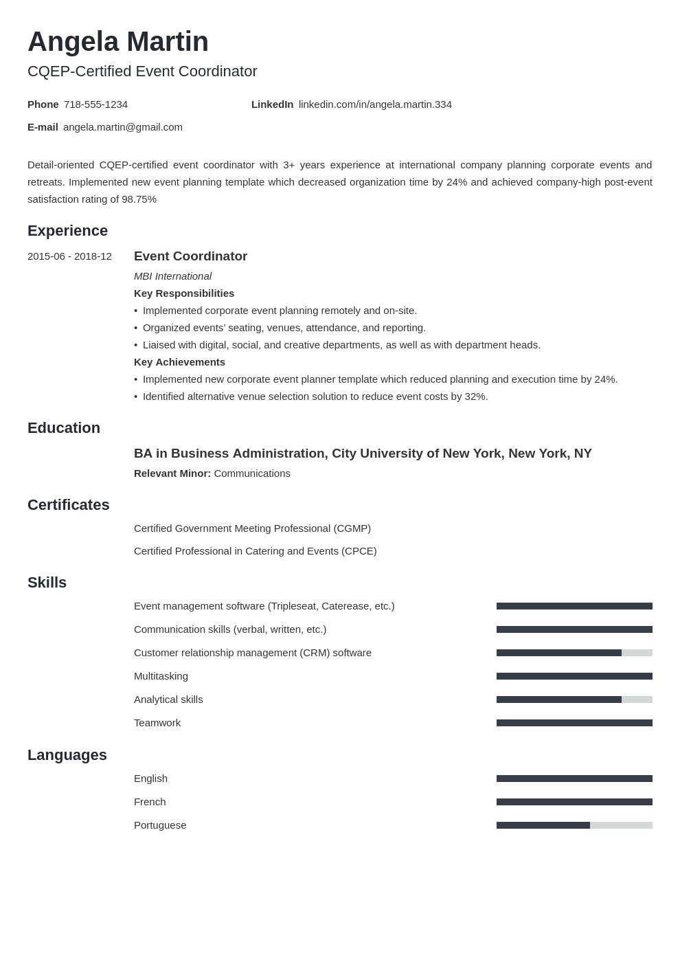 event planner template minimo uk