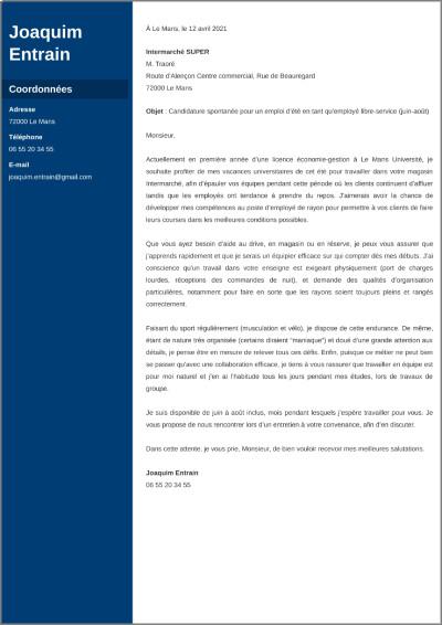 Exemple de lettre de motivation pour job d'été lycéen/étudiant
