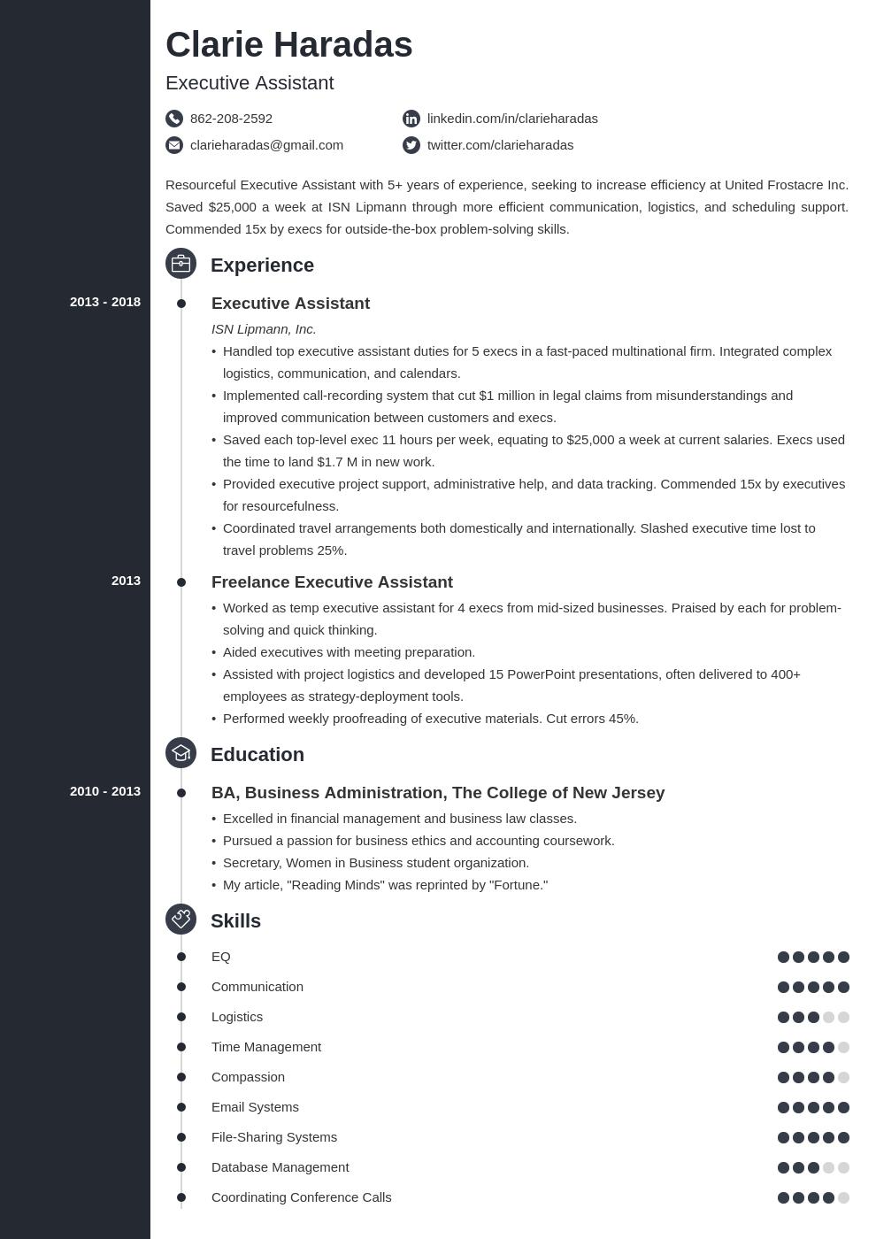 executive assistant template concept