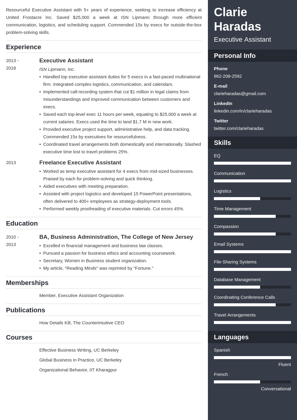 executive assistant template enfold uk