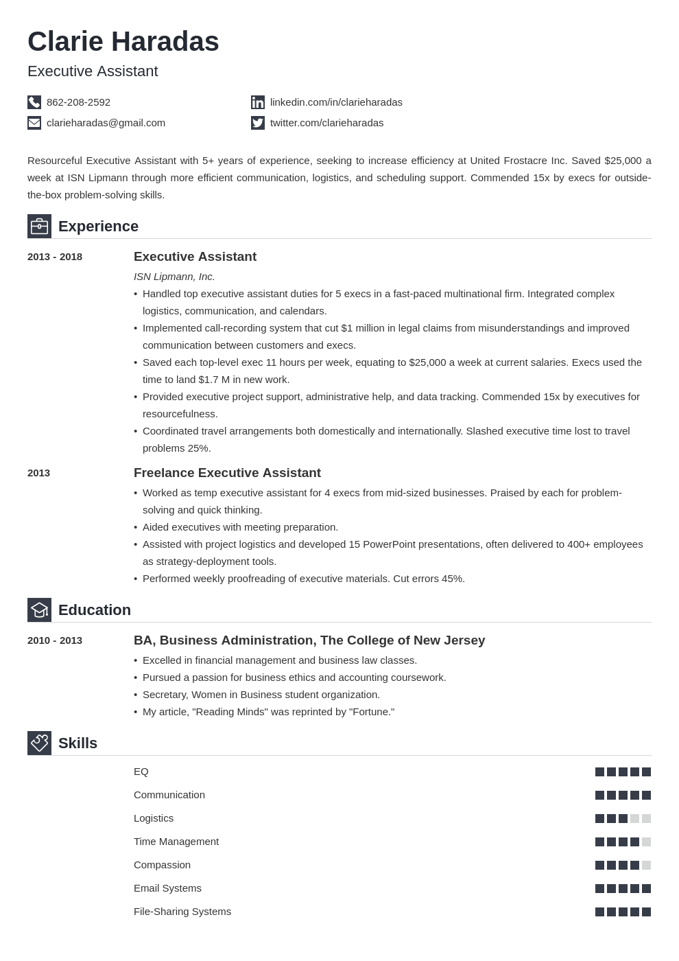 executive assistant template iconic uk