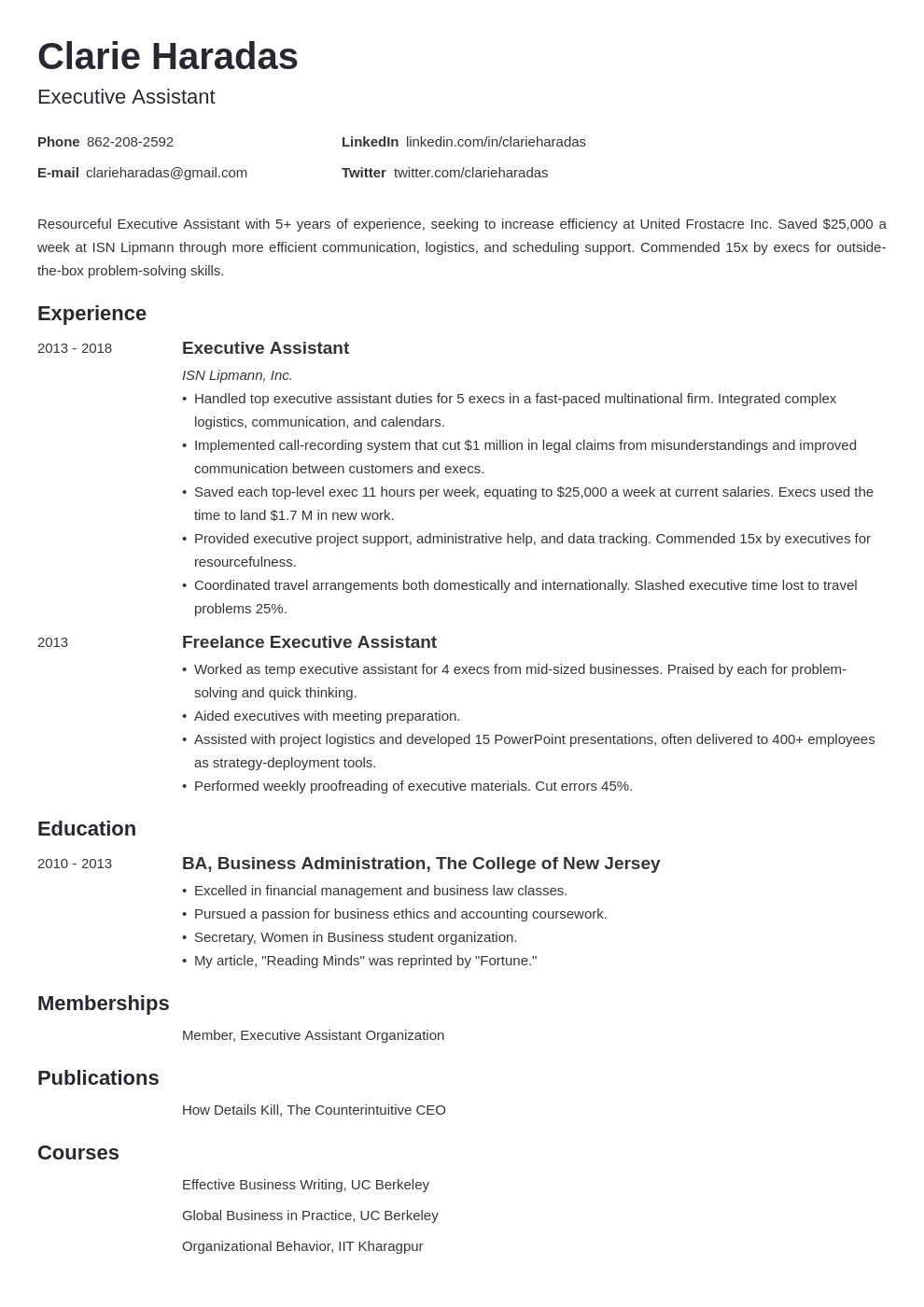 executive assistant template minimo uk