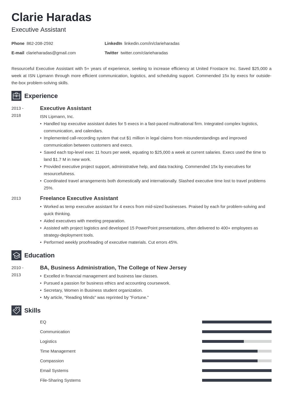 executive assistant template newcast uk
