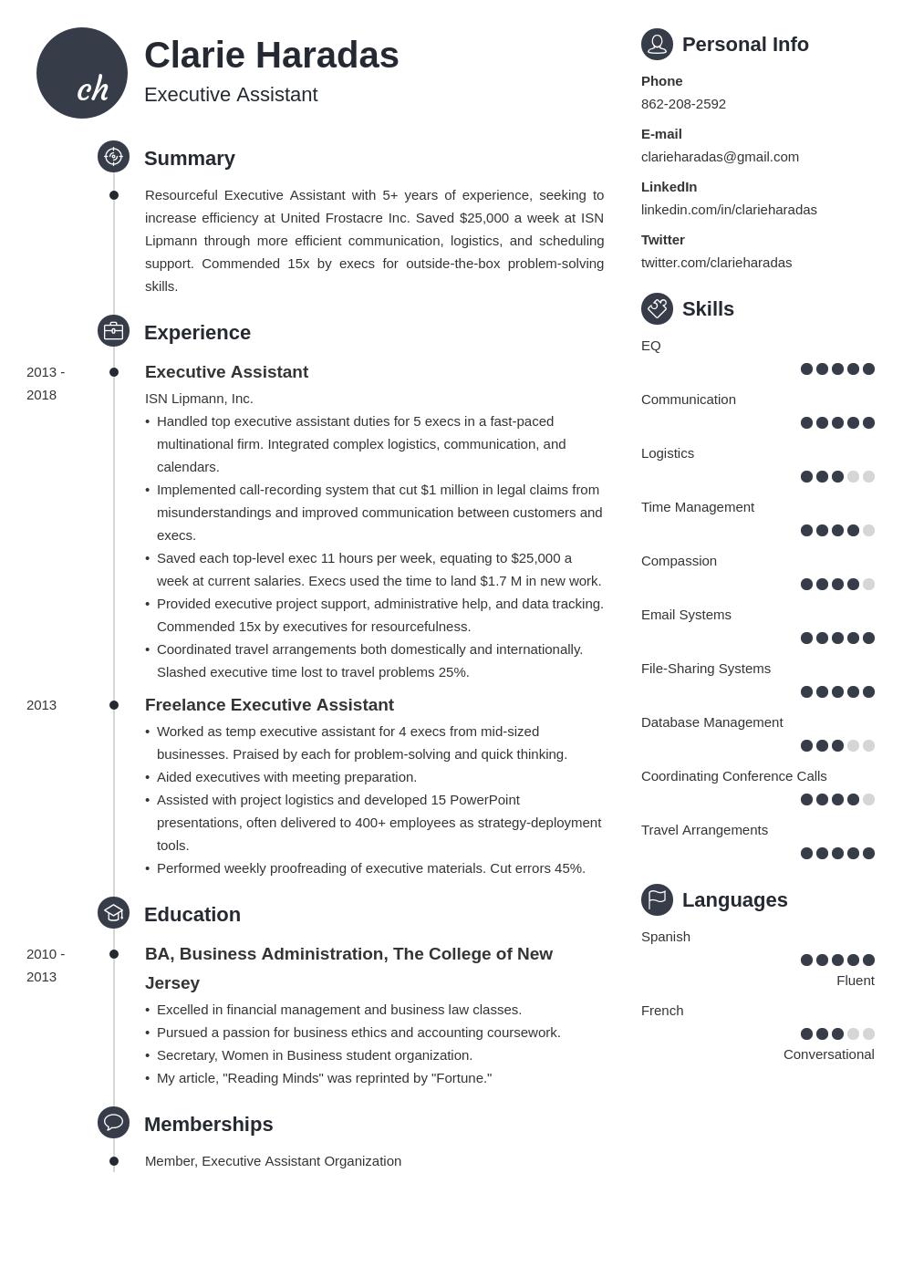 executive assistant template primo uk