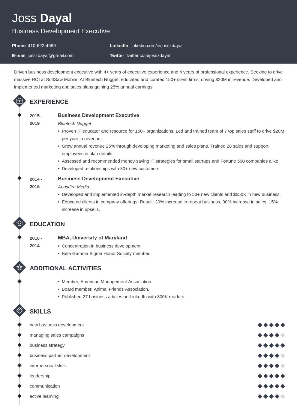 executive template diamond