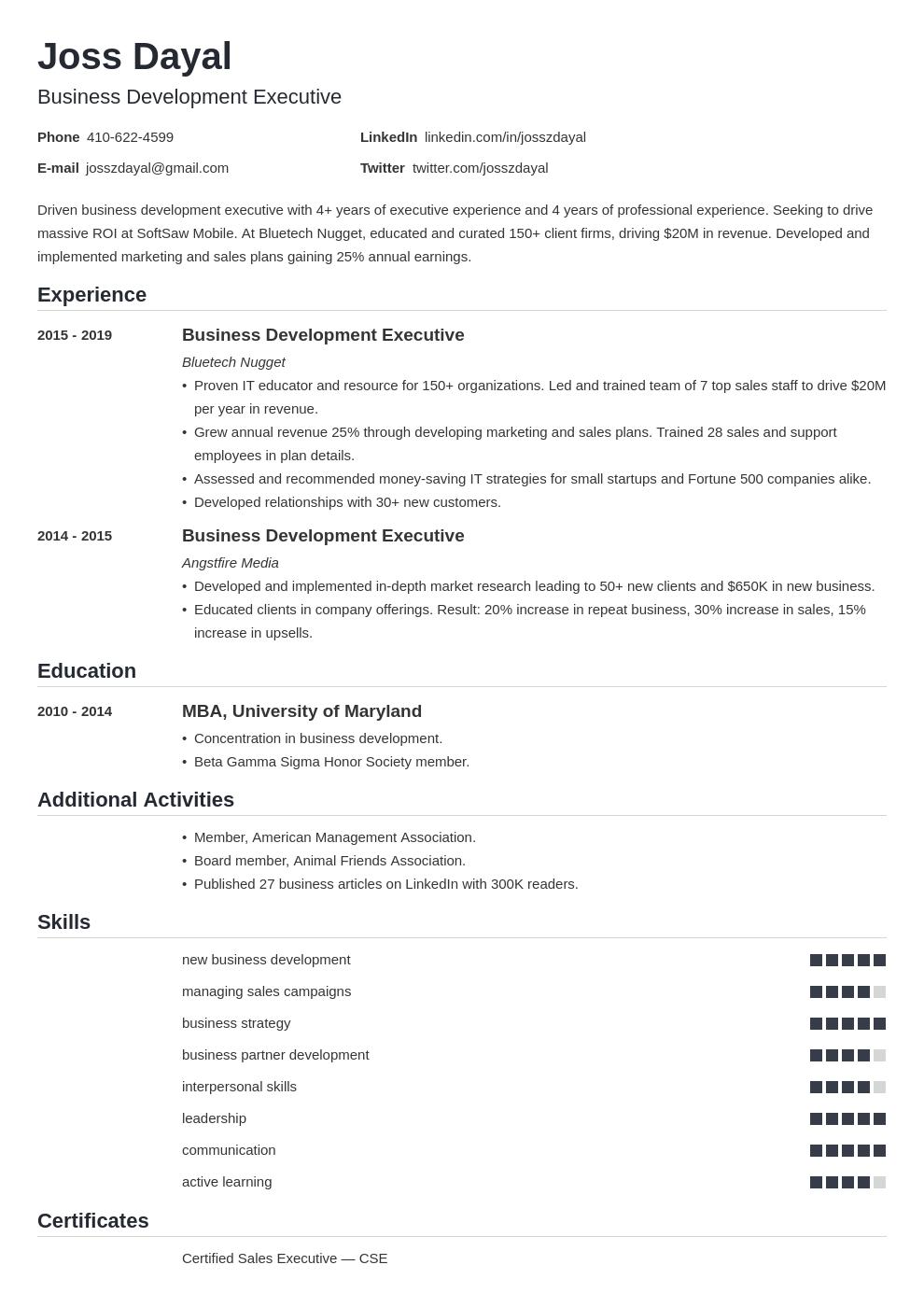 executive template nanica uk