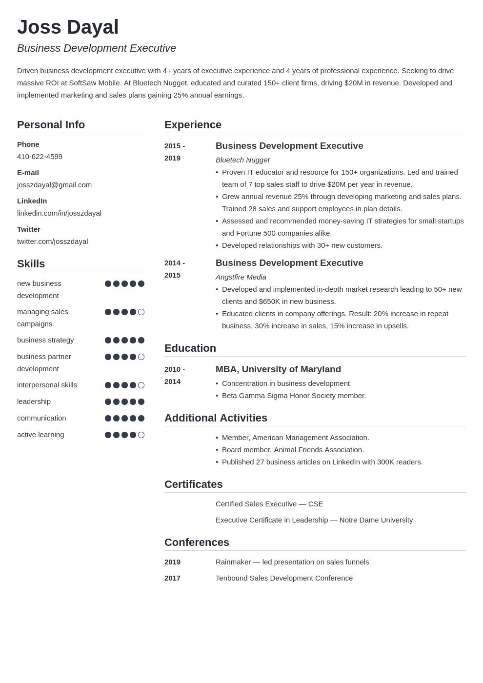 executive template simple uk