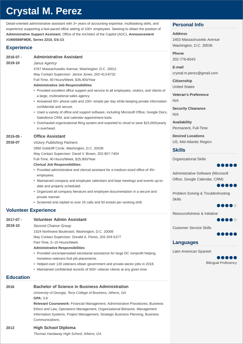 Federal Resume Examples And 25 Writing Tips