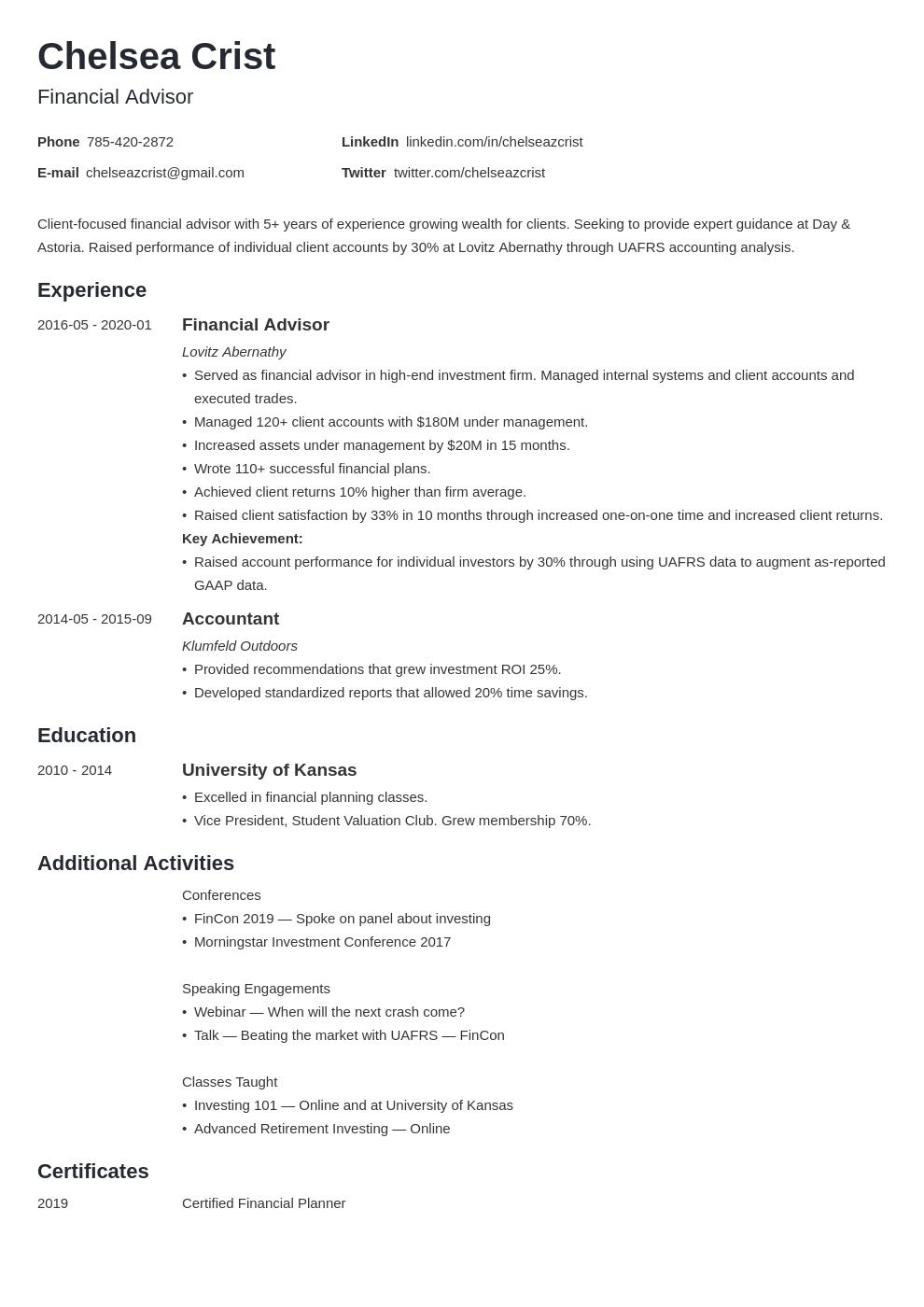 financial advisor template minimo