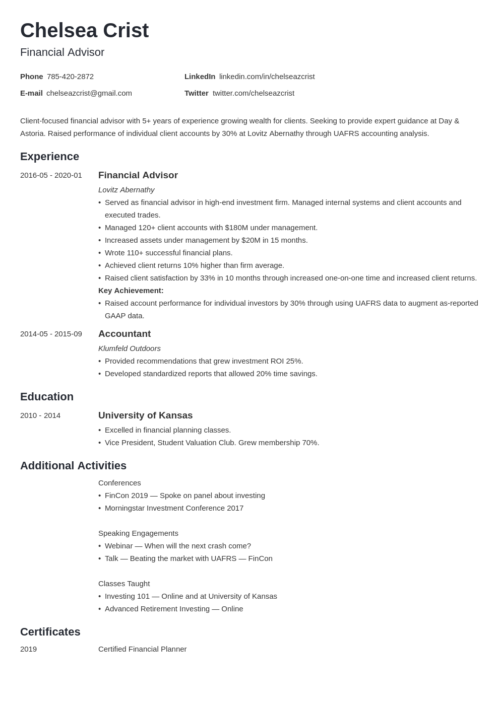 financial advisor template minimo uk