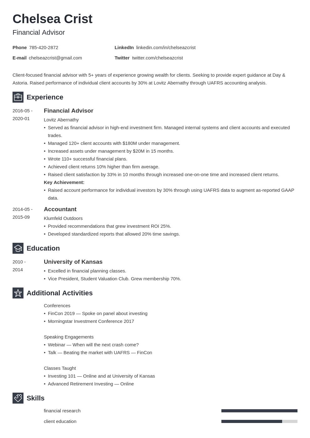 financial advisor template newcast