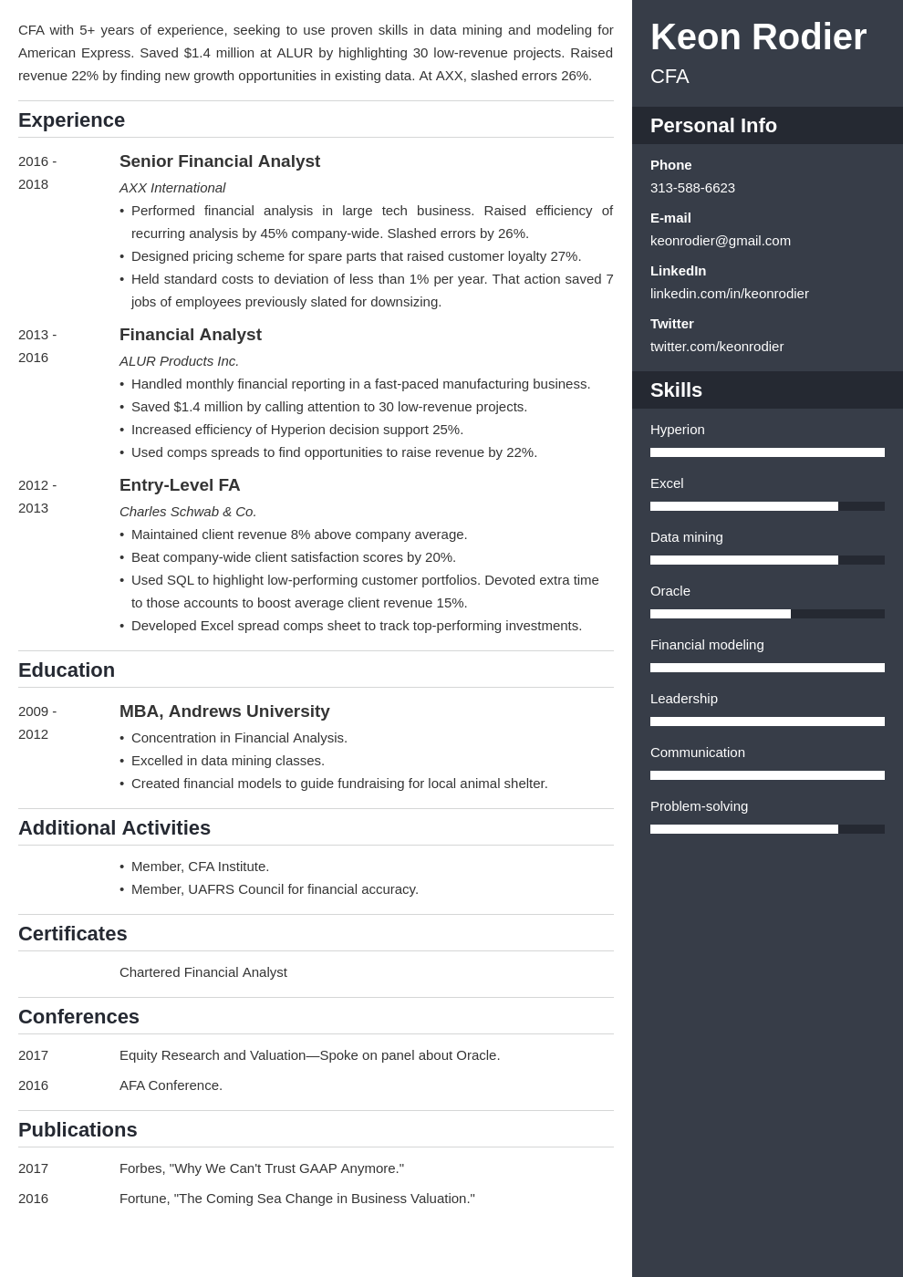 financial analyst template enfold