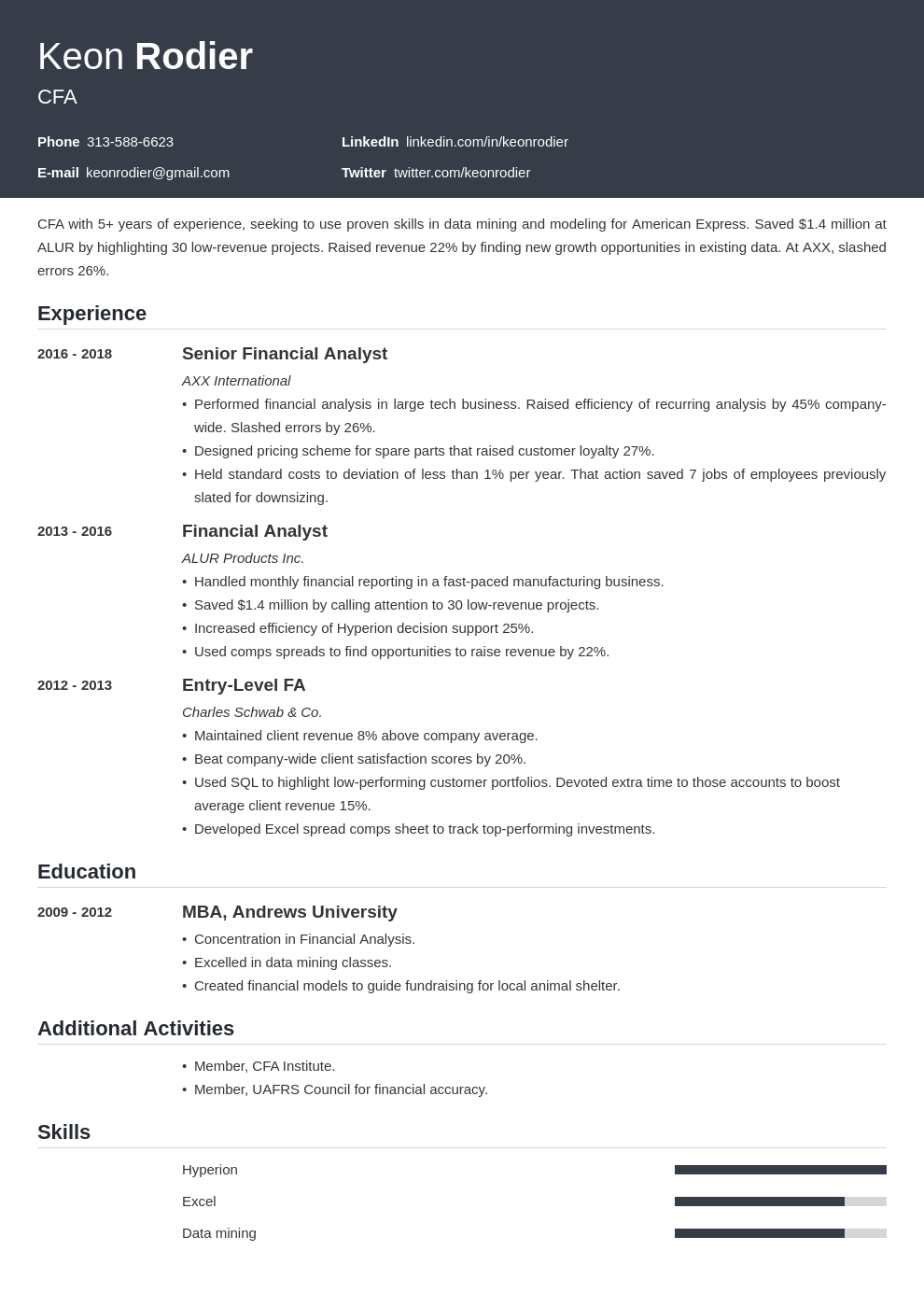 financial analyst template influx