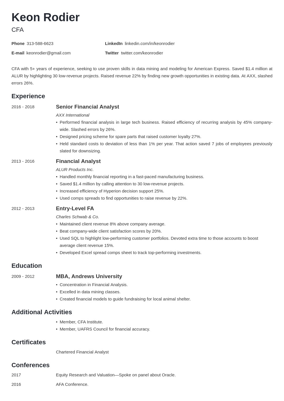 financial analyst template minimo uk