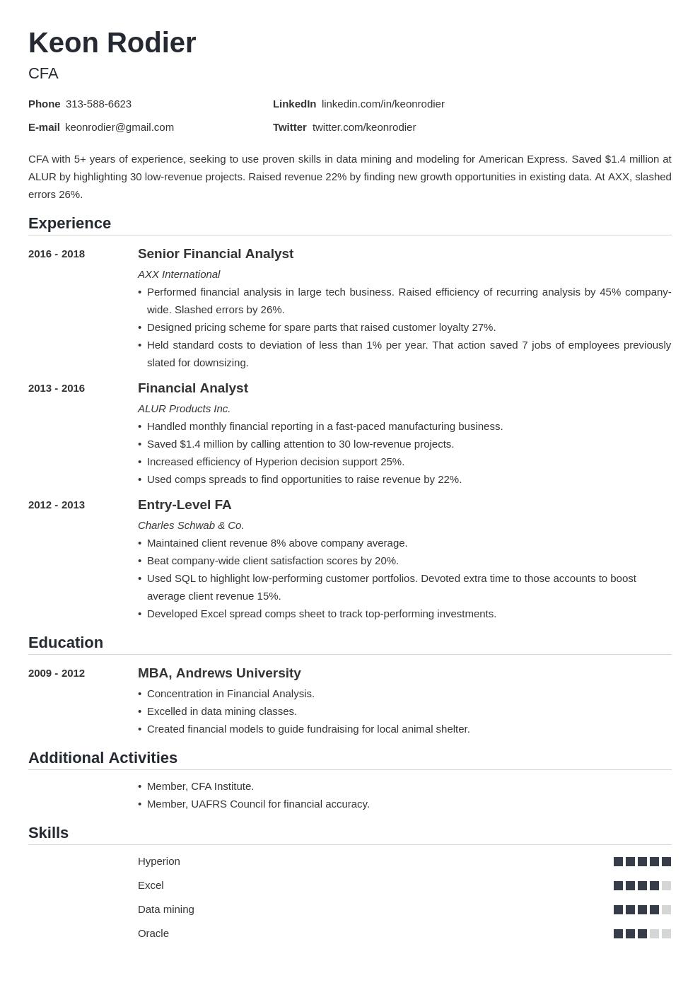 financial analyst template nanica