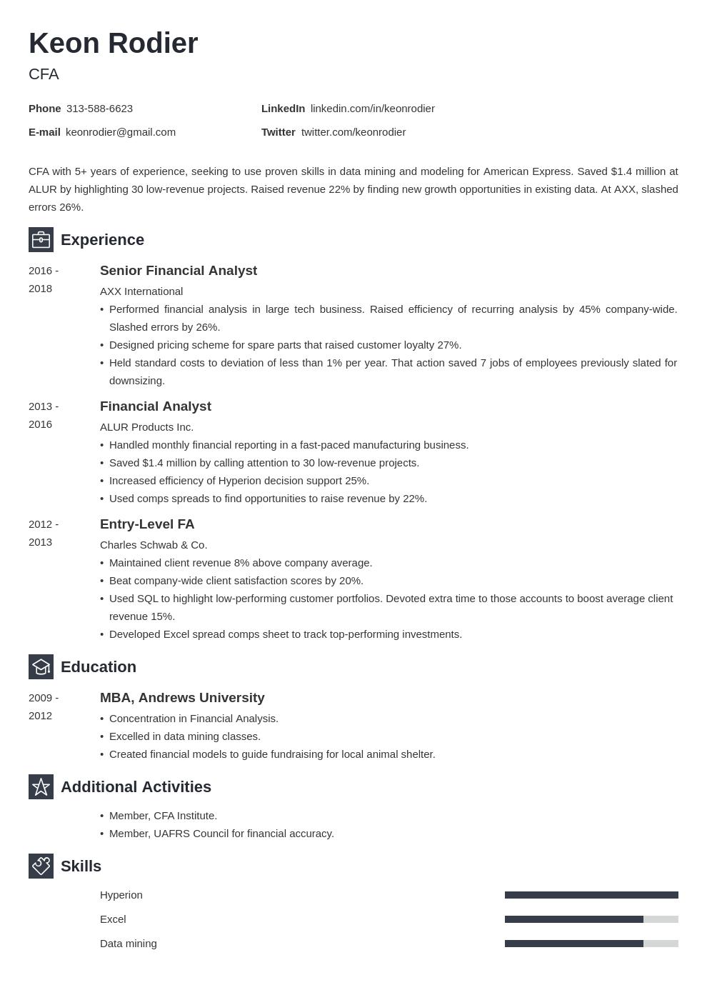 financial analyst template newcast