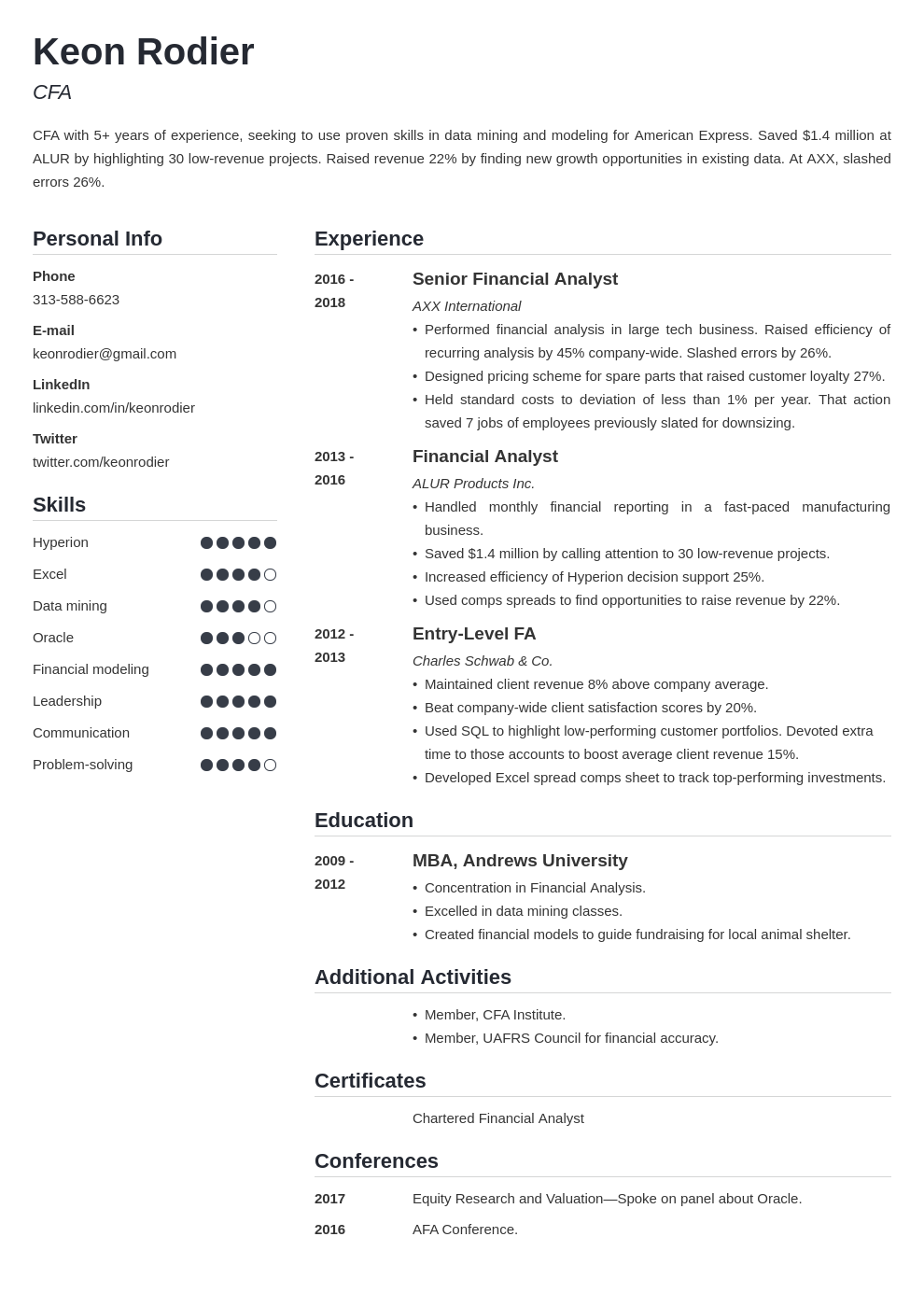 financial analyst template simple uk