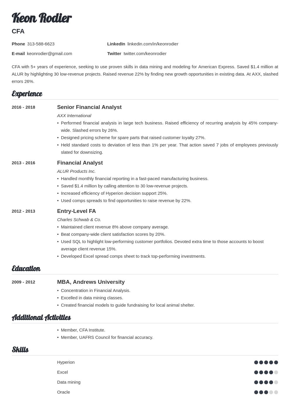 financial analyst template valera