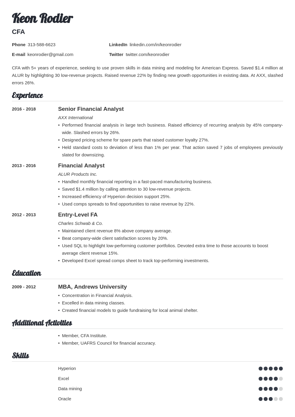 financial analyst template valera uk