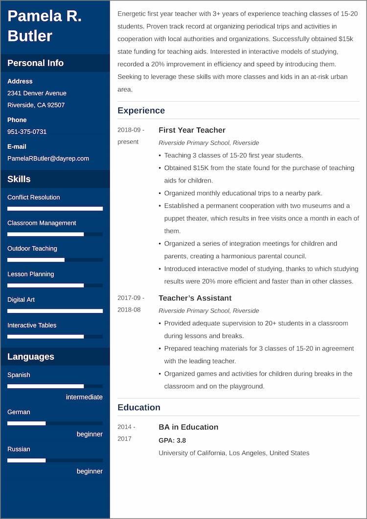 first year teacher resume templates
