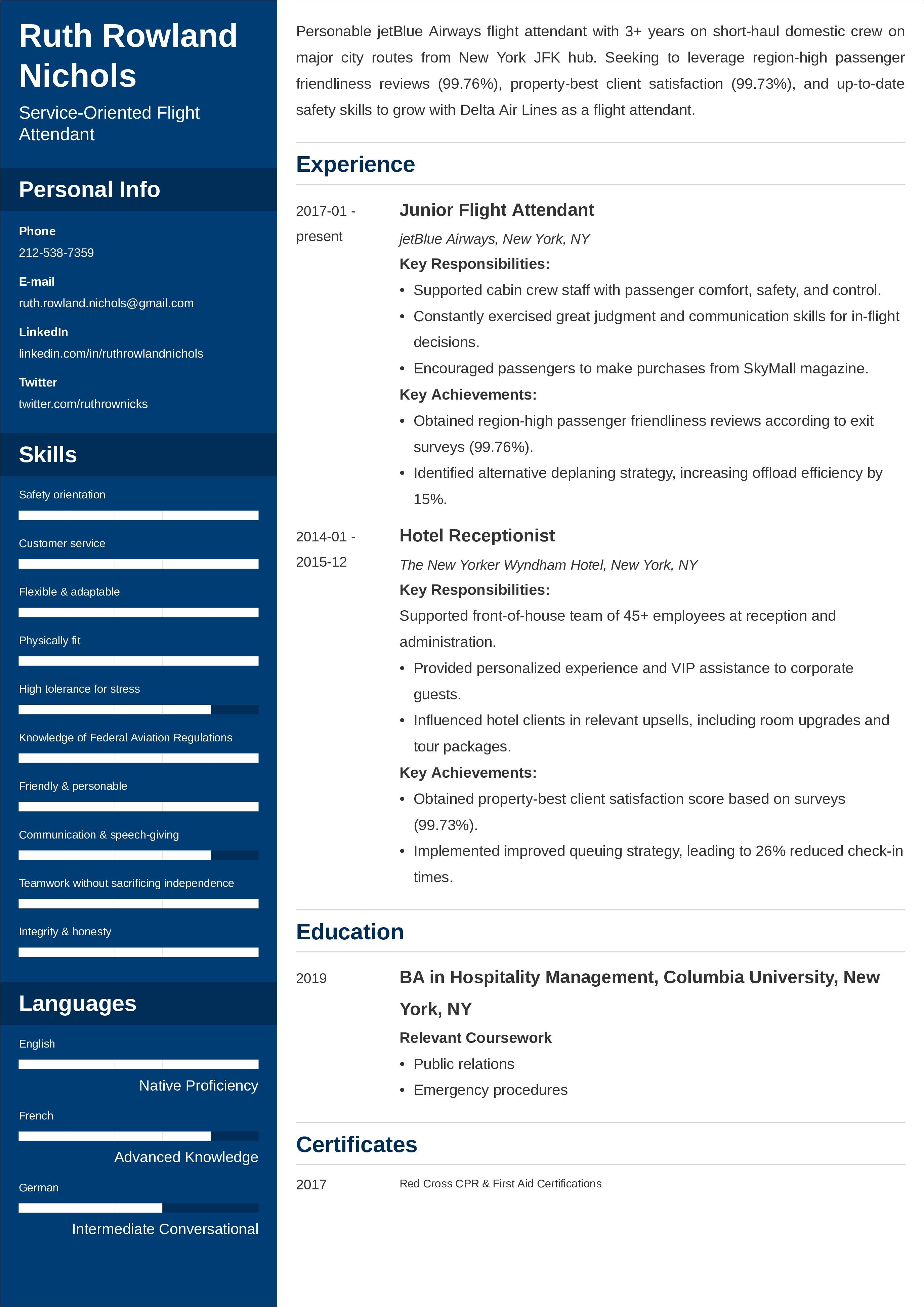 flight attendant resume sample 20 writing tips  examples