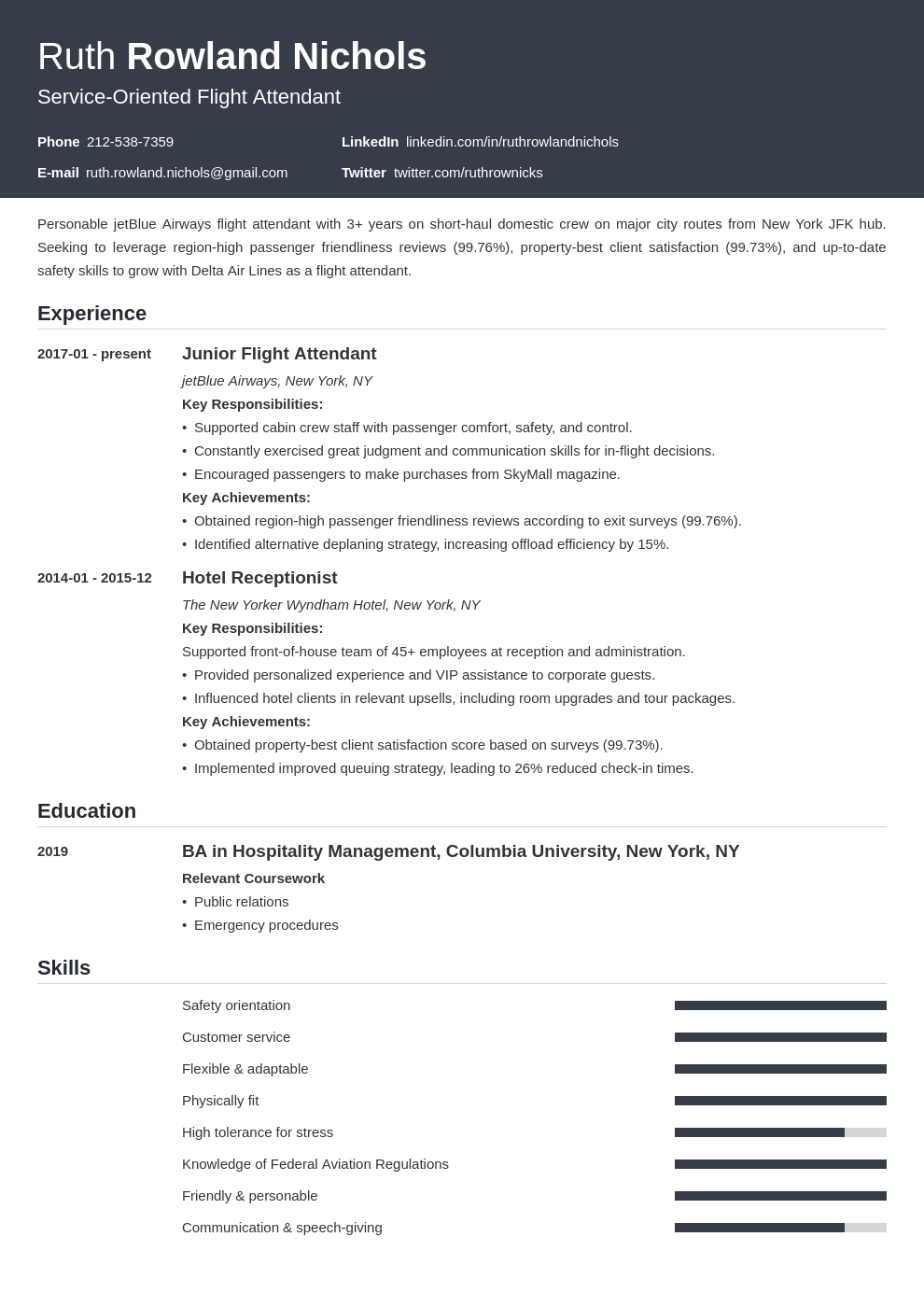 flight attendant template influx uk