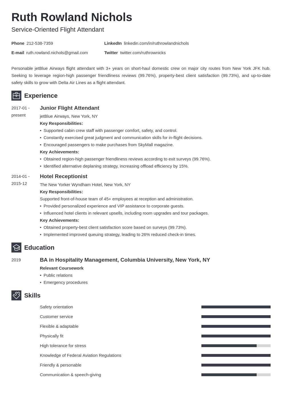 flight attendant template newcast